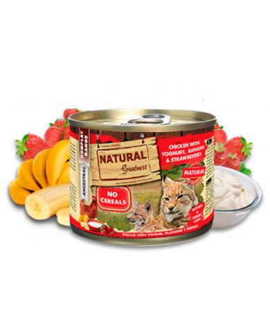 Natural Greatness Cat Pollo con Yogurt, Banana y Fresa lata 200gr