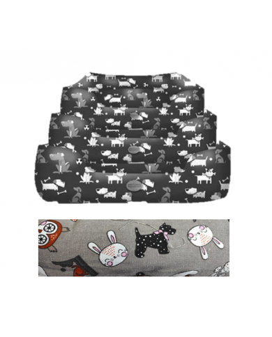 Cuna diseño NB gris mascotas